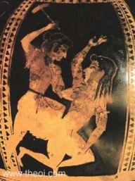 Diké (a justiça personificada) derrotando Adikia (a injustiça) com um machado.