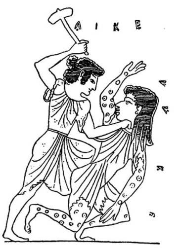 Diké (a Justiça) derrotando Adikia (a Injustiça)