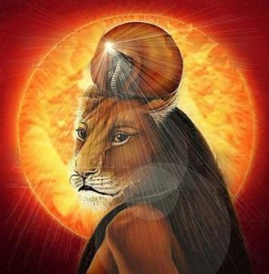 Sekhmet em frente ao sol