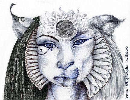 Ilustração de um rosto metade mulher metade leoa