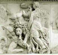 Ceto com Pontus e um leao atacanado os Gigantes na Gigantomaquia.