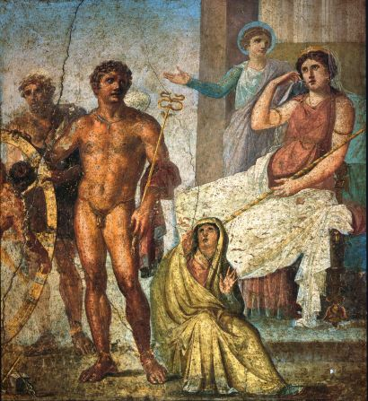 Pompeii_-_Casa_dei_Vettii_-_Ixion_Iris stands behind the seated Juno (right) in a Pompeii fresco