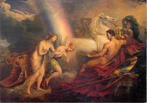 Iris ajudando Afrodite a batalha de Tróia.