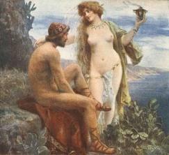 Jan Styka -Goddess Calypso promises immortality to Odysseus
