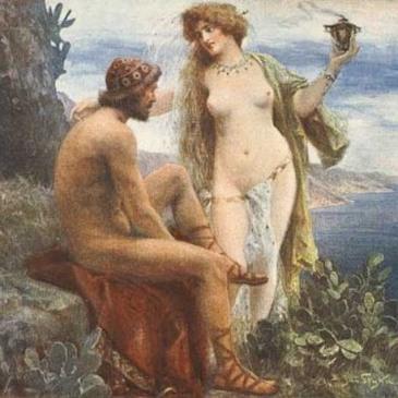 Calipso e Odisseu. Ilustração por Jan Styka