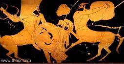 Caeneus lutando contra um centauro.