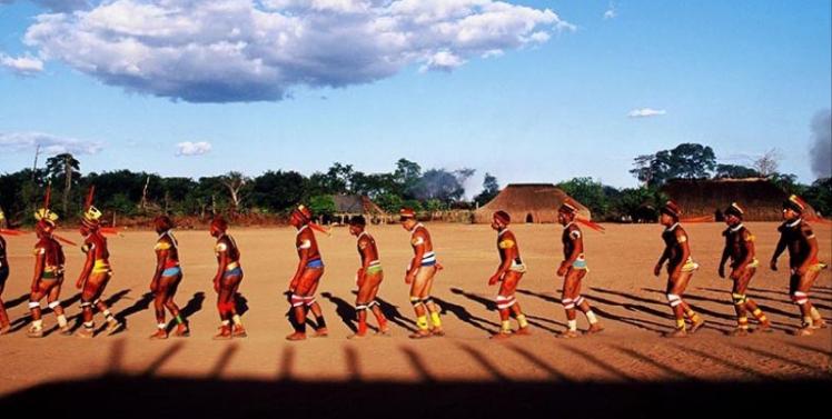 Celebração de Quarup, uma festa em homenagem aos mortos, com as etnias do Alto Xingu.