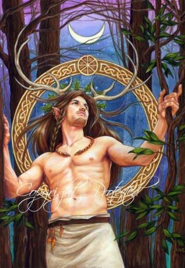 Homem com chifres de gamo em uma decoração celta