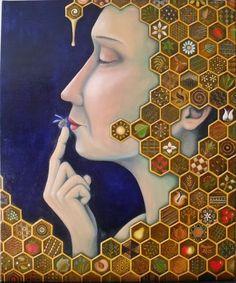 Mulher entre favos de mel