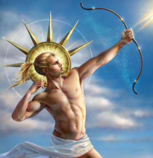 Imagem de um Deus Greco-Romano com o símbolo solar ao redor da cabeça atirando uma flecha de luz