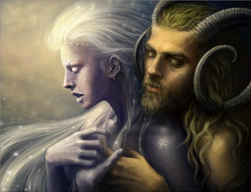 Imagem da Deusa estrelada abraçada pelo Deus Cornífero