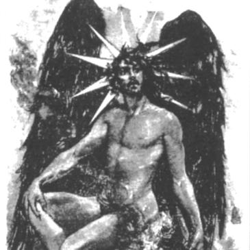 Imagem de um homem alado com marcas solares ao redor da cabeça e com asas angelicais.