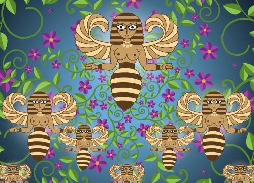 Ilustração de mulheres-abelha