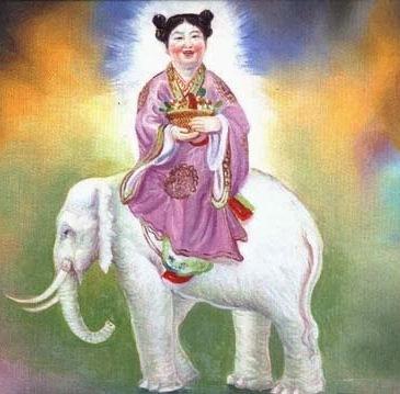 Lan Caihe em cima de um elefante