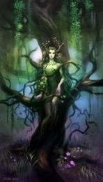 Ilustração de uma mulher surgindo do tronco de uma árvore