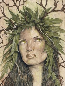 Imagem de uma mulher com cabelos de folhas