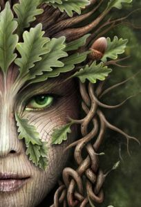 Rosto de uma mulher formado por árvore e folhas