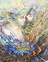 Ilustração de um casal sagrado formado por ítens da natureza
