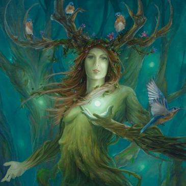 Ilustração de Druantia que pode ser vista como uma mulher verde com chifres de árvore