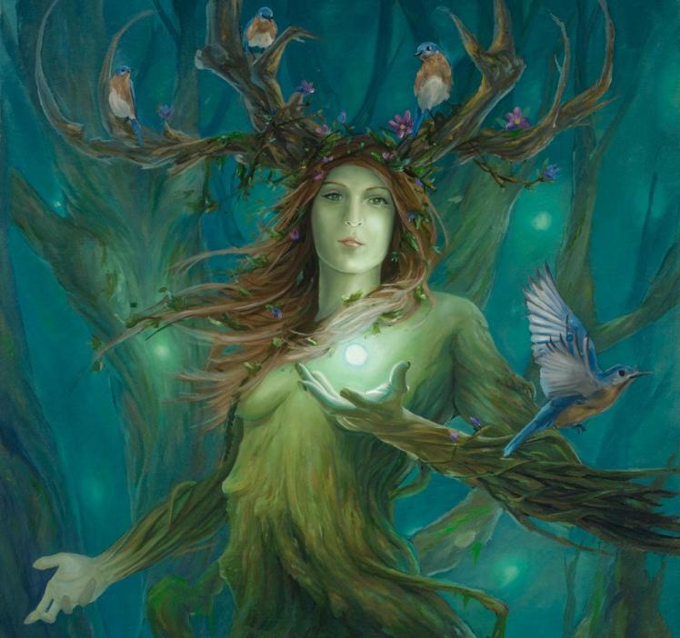 Imagem de Druantia, Deusa celta verde, formada de galhos de árvores