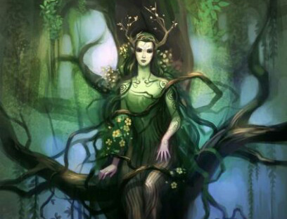 Ilustração de uma mulher verde formada por árvores, representando a deusa Druantia
