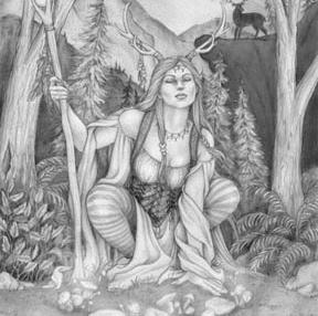 Ilustração de mulher com chifres de cervo na natureza