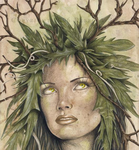Ilustração de mulher com cabelos de folhas e galhos, simbolizando Druantia