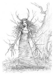 Ilustração de mulher feita de galhos