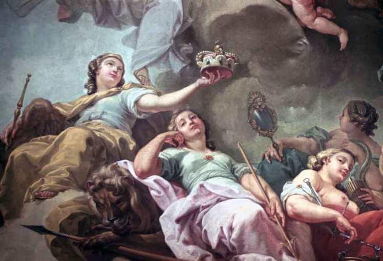 Pintura das Deusas Clementia, Justitia e Prudentia